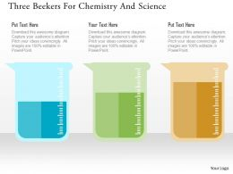 Three Beekers For Chemistry And Science Flat Powerpoint Design