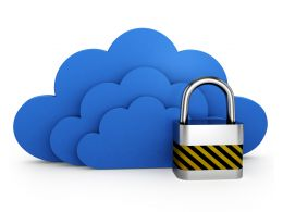 Three Blue Clouds With Lock For Security Stock Photo