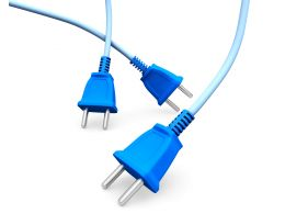 Three Blue Colored Electronic Plugs On White Background Stock Photo