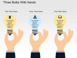 Three Bulbs With Hands Flat Powerpoint Design