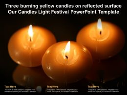 Three Burning Yellow Candles On Reflected Surface Our Candles Light Festival Template