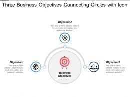 Three Business Objectives Connecting Circles With Icon