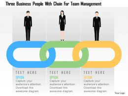 Three Business People With Chain For Team Management Flat Powerpoint Design