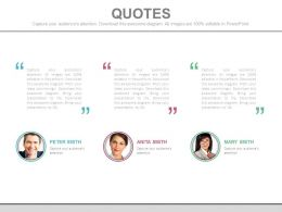 Three Business Peoples Communication Quotes Powerpoint Slides