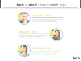 Three Business Peoples Profile Tags Powerpoint Slides