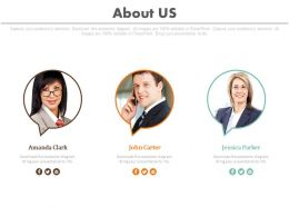 Three Business Profiles For About Us Powerpoint Slides