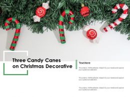Three Candy Canes On Christmas Decorative