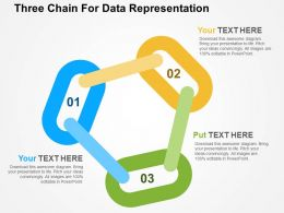 Three Chain For Data Representation Flat Powerpoint Design