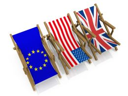 Three Chairs With Flags Of America China And Europe Stock Photo