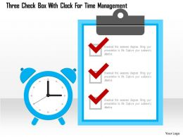 Three Check Box With Clock For Time Management Flat Powerpoint Design