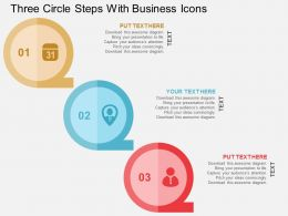 Three Circle Steps With Business Icons Flat Powerpoint Design