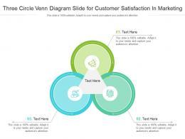 Three Circle Venn Diagram Slide For Customer Satisfaction In Marketing Infographic Template
