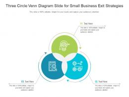 Three Circle Venn Diagram Slide For Small Business Exit Strategies Infographic Template