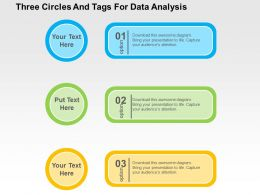 Three Circles And Tags For Data Analysis Flat Powerpoint Design