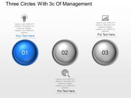Three Circles With 3c Of Management Powerpoint Template Slide