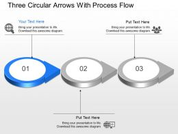 Three Circular Arrows With Process Flow Powerpoint Template Slide