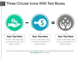Three Circular Icons With Text Boxes