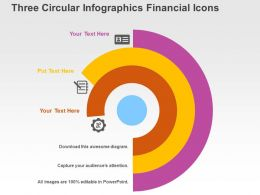 Three Circular Infographics Financial Icons Flat Powerpoint Design