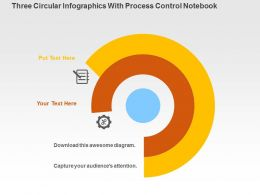 Three Circular Infographics With Process Control Notebook Flat Powerpoint Design