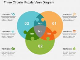 Three Circular Puzzle Venn Diagram Flat Powerpoint Design