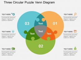 three_circular_puzzle_venn_diagram_flat_powerpoint_design_Slide01