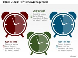 Three Clocks For Time Management Flat Powerpoint Design