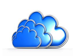 Three Cloud With Blue Color And Glossy Finish Stock Photo