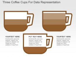 Three Coffee Cups For Data Representation Flat Powerpoint Design