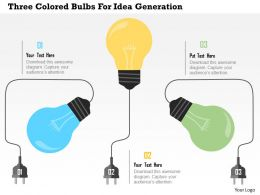 Three Colored Bulbs For Idea Generation Flat Powerpoint Design