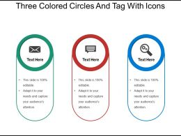 Three Colored Circles And Tag With Icons