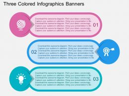 Three Colored Infographics Banners Flat Powerpoint Design
