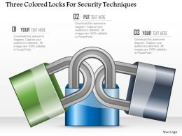 Three Colored Locks For Security Techniques Ppt Slides