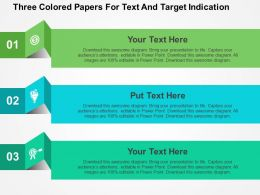 three_colored_papers_for_text_and_target_indication_flat_powerpoint_design_Slide01