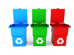 Three Colored Recycle Bin Stock Photo