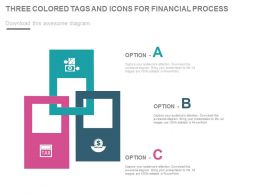 Three Colored Tags And Icons For Financial Process Powerpoint Slides
