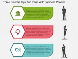 Three Colored Tags And Icons With Business Peoples Flat Powerpoint Design