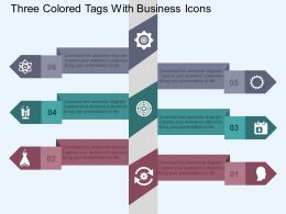 Three Colored Tags With Business Icons Flat Powerpoint Design