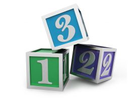 Three Colorful Cubes With 123 Numbers On It Stock Photo