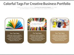 Three Colorful Tags For Creative Business Portfolio Flat Powerpoint Design