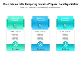 Three Column Table Comparing Business Proposal From Organization