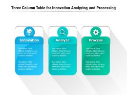 Three Column Table For Innovation Analyzing And Processing