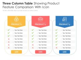 Three Column Table Showing Product Feature Comparison With Icon