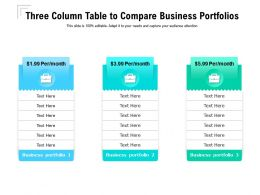 Three Column Table To Compare Business Portfolios