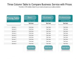 Three Column Table To Compare Business Service With Prices