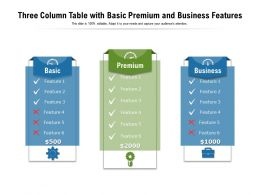 Three Column Table With Basic Premium And Business Features
