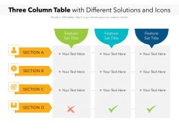 Three Column Table With Different Solutions And Icons