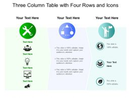 Three Column Table With Four Rows And Icons