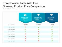 Three Column Table With Icon Showing Product Price Comparison