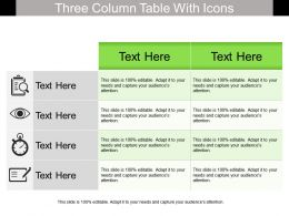 Three Column Table With Icons
