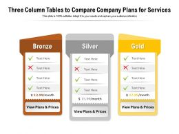 Three Column Tables To Compare Company Plans For Services